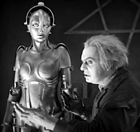 Scene from Metropolis: Rotwang and his robot in femael form