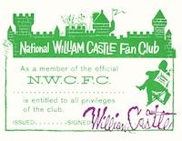 William Castle Fan Club membership card